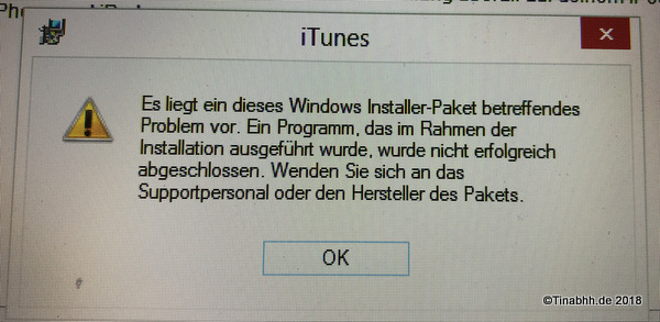 Fehlermeldung Windows Installer-Paket Apple iTunes®