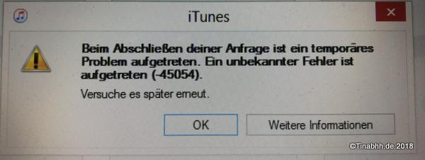 Fehlermeldung Apple iTunes®