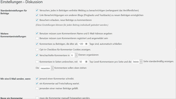 Kommentar-Einstellung WordPress 5.0.3